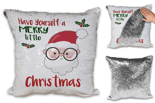 Merry Little Christmas Santa Novelty Sequin Reveal Magic Cushion Cover